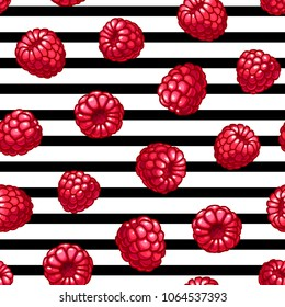 Raspberries striped seamless pattern. Summer fruits and berries colors vector background