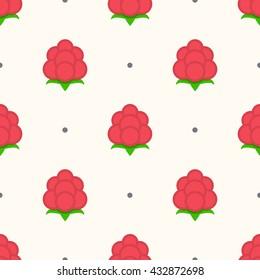 Raspberries summer seamless pattern. Raspberry flat vector illustration.