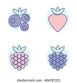 Raspberry, blueberry, strawberry, blackberry. Forest berries isolated on white background. Vector illustration