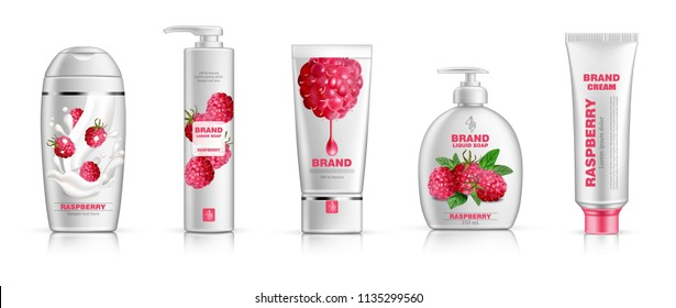 Raspberry cosmetics set Vector realistic. Shampoo, shower gel, cream and lotion. Product packaging mock up. Label design bottles 3d illustrations