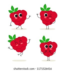 Raspberry. Cute cartoon fruit vector character set isolated on white