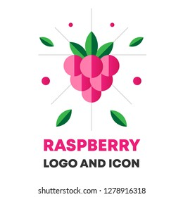 Raspberry icon, logo, berry vector illustration. Flat raspberry icon, logo for web, design, package. Abstract flat raspberry icon, logo for menu. Flat berry vector illustration, raspberry icon, logo.