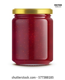 Raspberry jam jar glass isolated on white background. Mock up of vector jam jar glass good for presentation of raspberry jam jar.