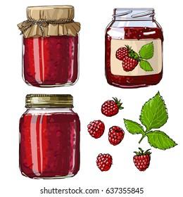 Raspberry jam. Set jars for jam. Black line on a white background. Vector skech food
