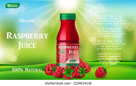 Raspberry juice bottle on green grass. fruit juice container package ad. 3d realistic summer ripe raspberry cocktail. Vector illustration