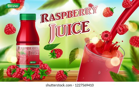 Raspberry juice bottle with splash on wooden table. fruit juice container package ad. 3d realistic summer ripe raspberry Vector illustration for your design