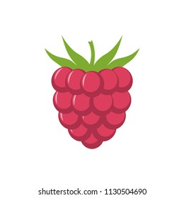 Raspberry with leaf vector icon. Raspberry icon clipart. Raspberry cartoon.