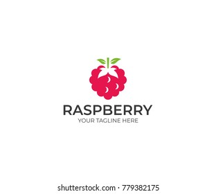 Raspberry Logo Template. Berry Vector Design. Fruit Illustration