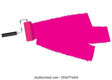 raspberry Paint roller. Brush stroke vector illustration. Template set. Stock image. EPS 10.