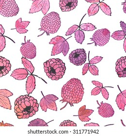 Raspberry pattern and watercolor background. Vector illustration
