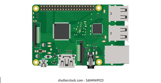 raspberry pi top view illustration electronics diy board