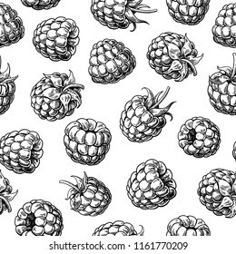 Raspberry seamless pattern. Vector drawing. Isolated berry branch sketch .  Summer fruit engraved style background. Detailed hand drawn vegetarian food. Great for packaging design, tea or juice label,