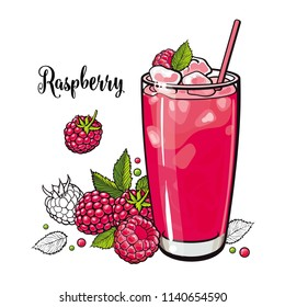 Raspberry summer cool drink with fresh ripe fruits and ice in glass in sketch style isolated on white background. Hand drawn refreshing juice beverage with berries in vector illustration.