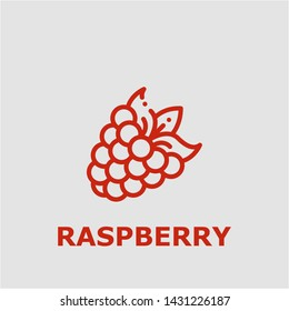 Raspberry symbol. Outline raspberry icon. Raspberry vector illustration for graphic art.