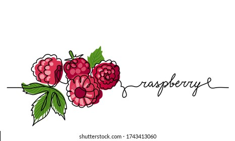 Raspberry vector color illustration, background, sketch banner for label design. One continuous line drawing of raspberry with lettering. Editable black stroke.