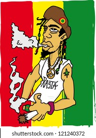Rasta man. Illustration of a rastafarian man on a jamaican flag