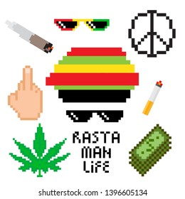 Rasta man set with weed, money, cigarette, joint, rasta hat and glasses. Vector illustration for your graphic design.