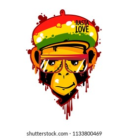 Rasta monkey, Rasta love text, face of cartoon cute monkey, vector illustration isolated on white background, graphic face, paint