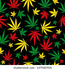 Rasta pattern. Reggae colour jamaican ornament. Marijuana seamless background. Rastafarian cannabis hemp template fill. Vector flat square clipart.