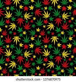 Rasta pattern. Reggae colour ornament. Marijuana seamless background. Rastafarian cannabis hemp template fill. Vector flat Illustration. Square clipart.