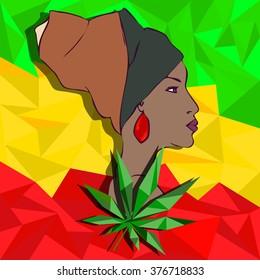 Rasta poster with pretty woman and marijuana