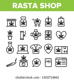 Rasta Shop Collection Elements Vector Icons Set Thin Line. Rasta Marijuana Cannabis Leaf Bottle Container And Mobile Screen, Bag And Shirt Concept Linear Pictograms. Monochrome Contour Illustrations
