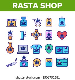 Rasta Shop Collection Elements Vector Icons Set Thin Line. Rasta Marijuana Cannabis Leaf Bottle Container And Mobile Screen, Bag And Shirt Concept Linear Pictograms. Color Contour Illustrations