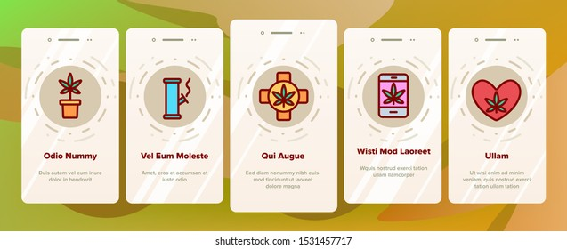 Rasta Shop Onboarding Mobile App Page Screen Vector Icons Set Thin Line. Rasta Marijuana Cannabis Leaf Bottle Container And Mobile Screen, Bag And Shirt Linear Pictograms. Contour Illustrations