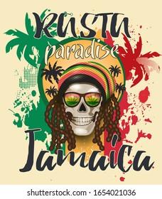 Rasta skull with dreadlocks  in sunglasses on palm tree background.Typography, t-shirt design.