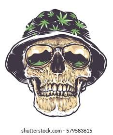 Skull Smoking Weed Wearing Weed Hat Vector De Stock Libre De