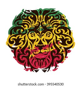 Rasta theme with lion head on a white background. Vector illustration.