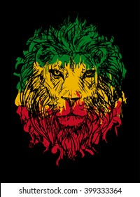 Rasta theme with lion head on black background. Vector illustration.
