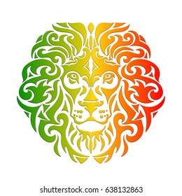 Rasta theme with lion head on a white background. Vector illustration. Wallpaper in Rastafarian background colors.