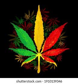 Rasta wallpaper. Abstract pattern from marijuana cannabis on Rastafarian background colors. Print shirt. Vector Illustration