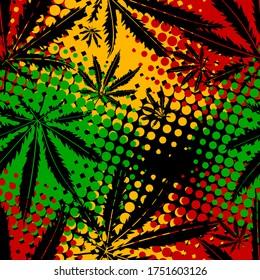 Rasta wallpaper. Abstract seamless pattern from marijuana cannabis on Rastafarian background colors. Vector Illustration
