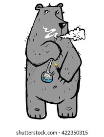Rastafarian Bear  illustration with smoking bong. Vector art