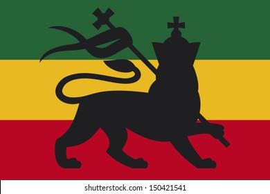 rastafarian flag with the lion of judah (reggae background)