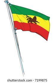 rastafarian flag with the lion of judah waving, original illustration