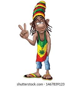 Rastafarian giving Cool Peace Sign,  Cartoon Character Vector Illustration