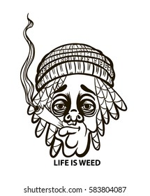 Rastafarian in a hat with dreadlocks and  jamb,life is Weed