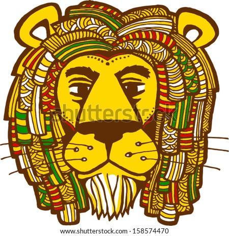 Rastafarian lion vector illustration