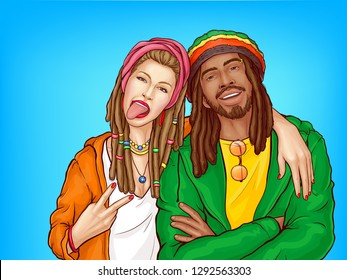 Rastafarian people pop art vector. Caucasian woman with hair braided in dreadlocks showing tongue, hugging smiling african-american man in crocheted rastacap illustration. Reggae music fans subculture