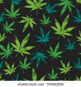 rastafarian seamless pattern, green cannabis leaves with grunge texture on black background, vector