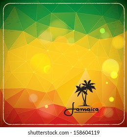 Rastaman background with triangles and bokeh effect. Vector illustration