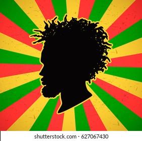 Rastaman on grunge rastafarian background. Vector illustration