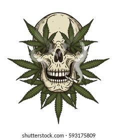 Rastaman skull with cannabis leafs