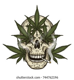 Rastaman skull with cannabis leaves