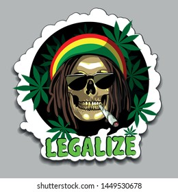 """Rastaman skull in colored beret with marijuana cigarette on the background of cannabis leaves. The inscription """"legalize"""". Vector graphics."""