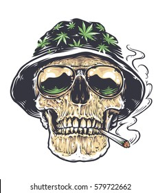 Rastaman Skull vector art. Skull in hat with cannabis leafs and in sunglasses holds smoking joint in his mouth. Tattoo style colored illustration isolated on white.