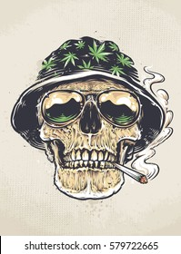 Rastaman Skull vector art. Skull in hat with cannabis leafs and in sunglasses holds smoking joint in his mouth. Grunge weathered painting.